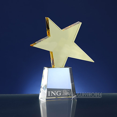 Glass award with star-theme