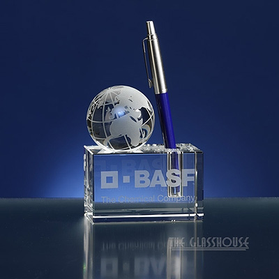 Glass penholder with globe
